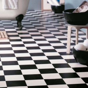 Black and white, chequered flooring